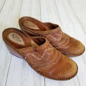 Clarks Artisan Leather Western Slip On Mules Clogs